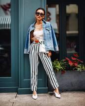 jacket,tumblr,denim jacket,denim,top,white top,pants,stripes,striped pants,shoes,mules,white shoes