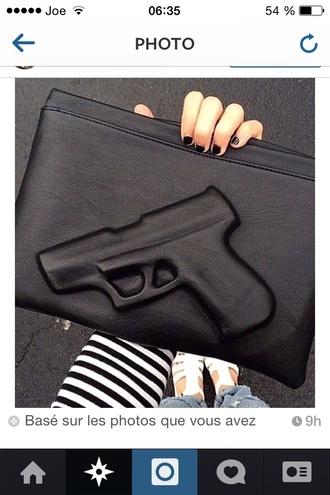 bag gun black gun handbag clutch envelope bag plopbycedric fashion