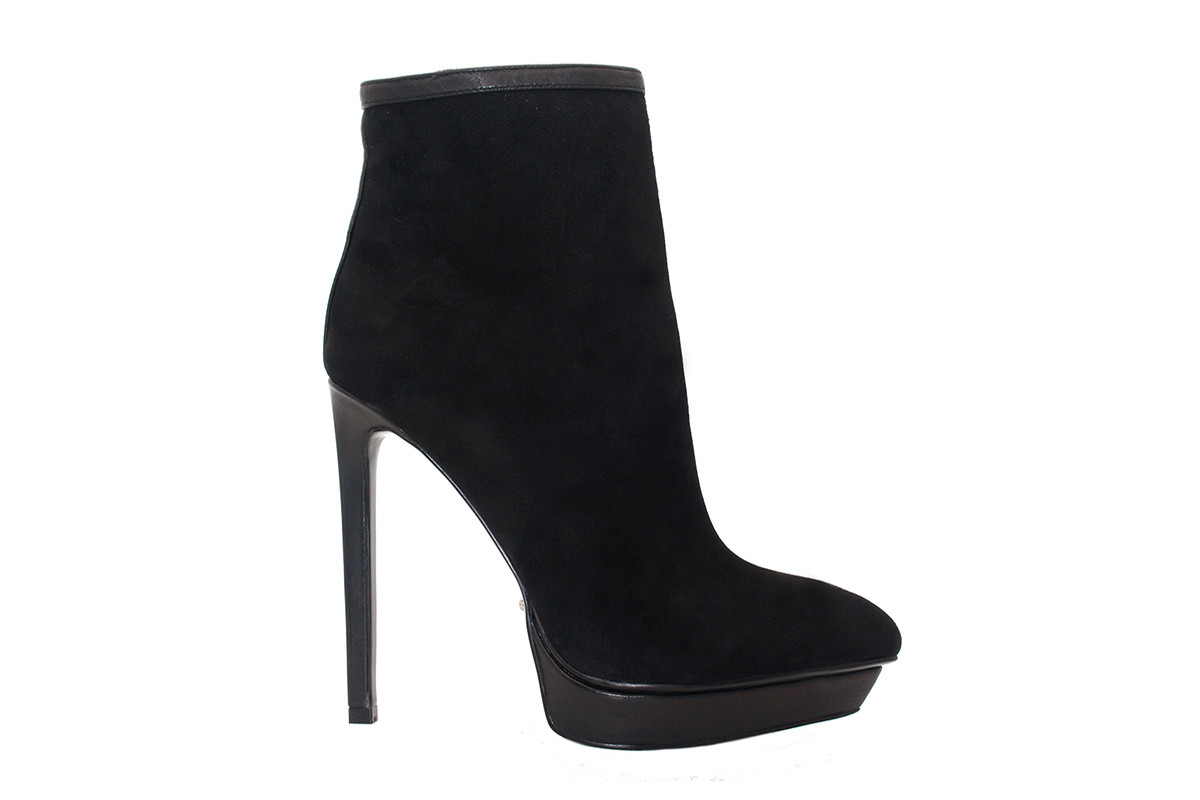 inch heels - Black Suede Ankle Boots