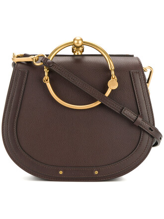 women bag leather suede brown