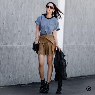 skirt tumblr mustard pleated pleated skirt mini skirt t-shirt stripes striped t-shirt boots stars bag sunglasses earrings jacket shoes