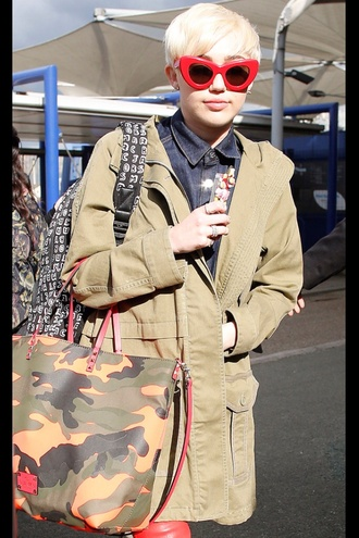 sunglasses miley cyrus tan red camouflage