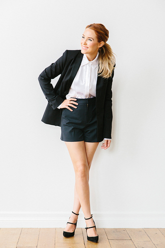 lauren conrad blogger black shorts white blouse black blazer black heels shorts pumps shirt blazer