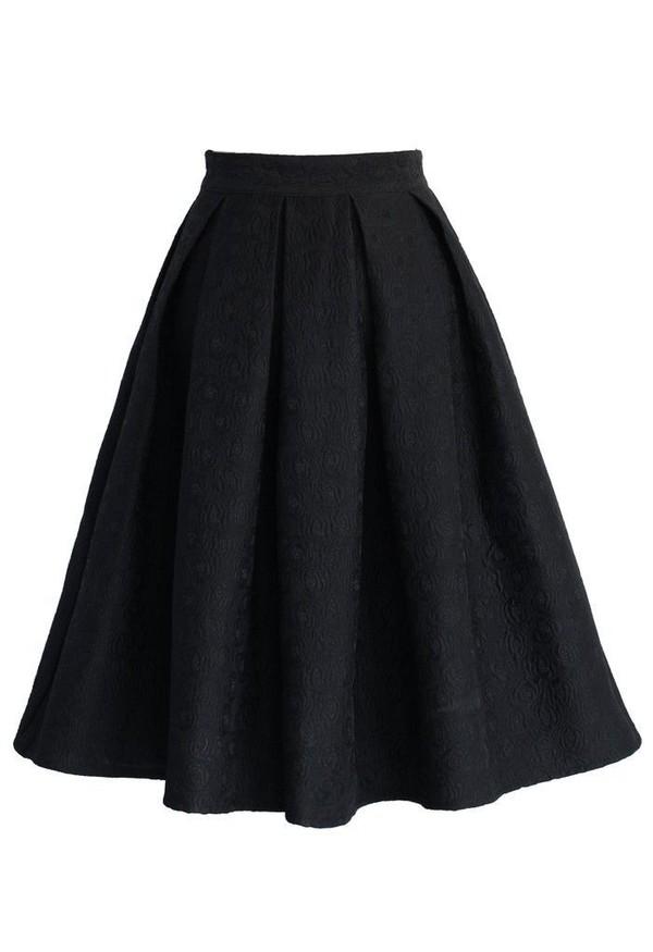 Black Knee Length Skirt - Dress Ala