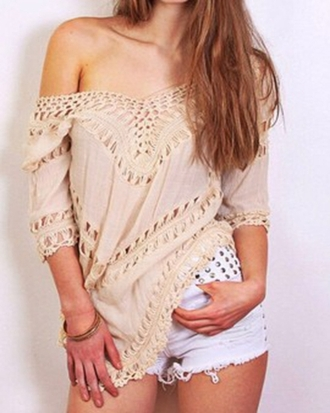 blouse choies v neck crochet cut out asymmetrical