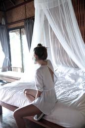 romper,tumblr,white romper,three-quarter sleeves,open back,backless,sneakers,hair bun,bedroom,home decor,furniture,home furniture