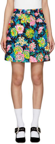 MSGM miniskirt denim floral multicolor skirt