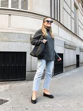 trini,blogger,sunglasses,sweater,jeans,jewels,bag