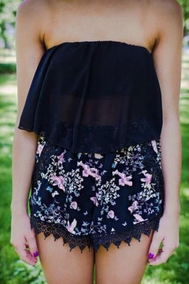 floral swimwear romper lace romper cute dress flower romper, jumper, style, dots, lace dress floral shorts