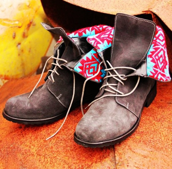 pink shoes lace up ankle booties aztec boots booties brown leather boots light blue