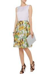 skirt,cotton-blend fil coupé skirt,marni,green