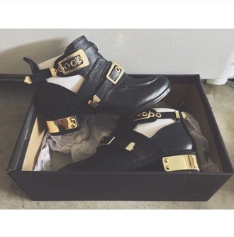 shoes gold black booties buckles emergency