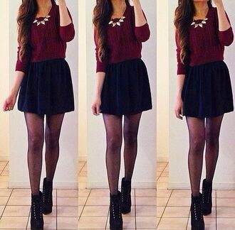 sweater same skirt pullover blouse burgundy sweater cropped sweater 3 /4 sleeve black flowy short interview outfit cute pretty burgundy shirt top clothes jewels shoes fashion boots