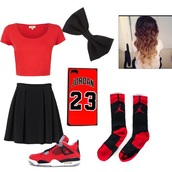 top,skater skirt,jordans,swag,socks,shoes,hair accessory,jordan's,chicago bulls,love,red,styke,fashion,yass,phone cover