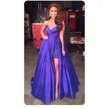 dress miss usa purple blue long