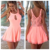 dress,jumpsuit,romper,pink,cut-out,perfect,pink dress,salmon,lace dress,lace trim,low back dress,lace,coral playsuit,neon orange,clothes,coral,crochet,crop dress,laced,mini dress,outfit,classy,prom dress,party dresess,prom dressess,shorts,high pink lace dress,sexy dress,green,neon,backless,peachy pink,girly,neon dress,cute,floral,cute dress,hat,summer,summer dress,coral dress,long hair,summer outfits,pretty