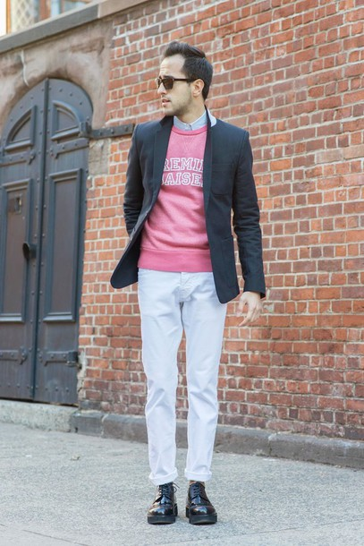 the metro man blogger menswear mens jeans pink sweater mens blazer