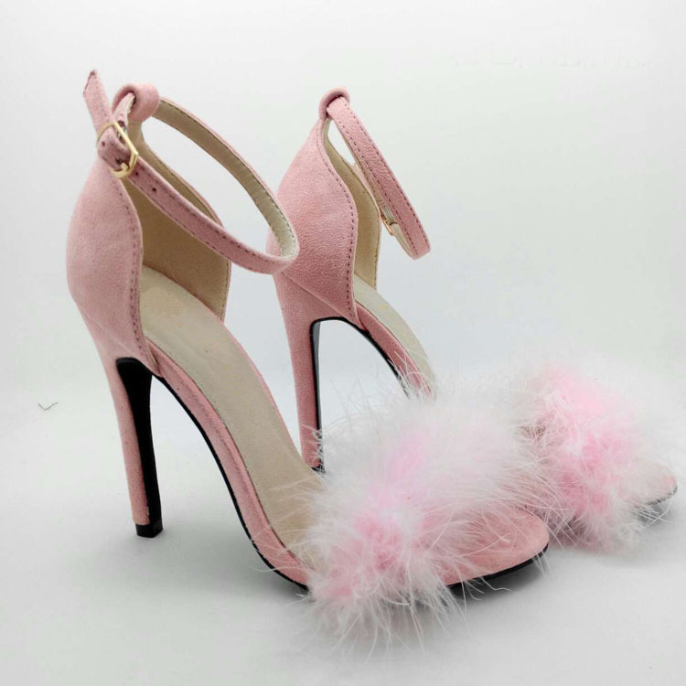 Hot Sell Sexy Red Pink Purple Fifi Faux Fur Sandals Fluffy Barely ...