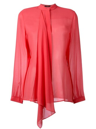 blouse women draped silk purple pink top