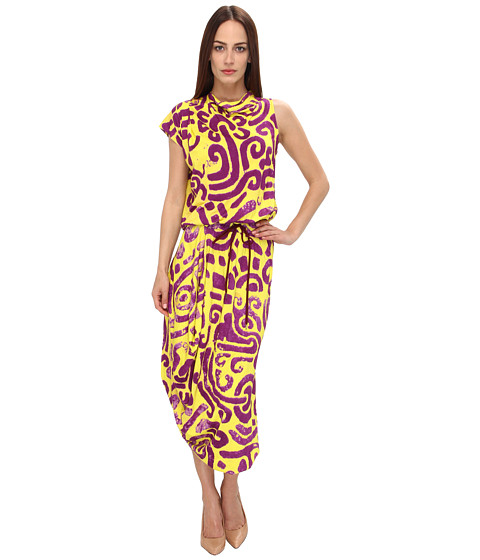 Vivienne Westwood Anglomania Quest Dress Purple/Yellow Maze Print - Zappos Couture