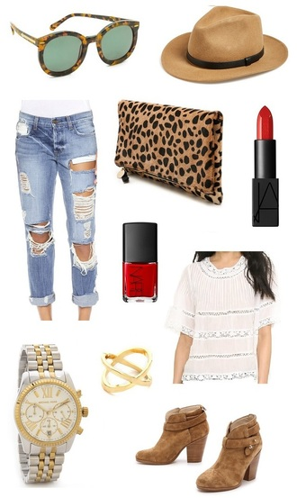 sunglasses monday fashion inspo inspiration hat fedora clare v clutch boots michael kors michael kors watch ripped jeans ring nars nars cosmetics nail polish lipstick blogger fashion blogger rag and bone rag & bone clare vivier ankle boots blouse jeans bag shoes jewels make-up