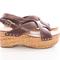 Dark brown criss-cross leather platform sandals