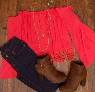 blouse jeans boots fall outfits red boho shirt outfit clothes red blouse red top off the shoulder brown boots ankle boots