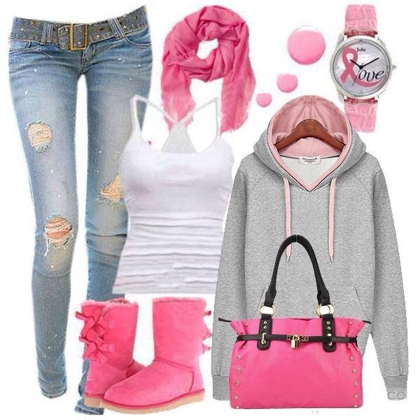 shoes jeans sweater grey pink fall outfits girl nice nude