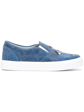 embroidered women sneakers leather cotton blue shoes