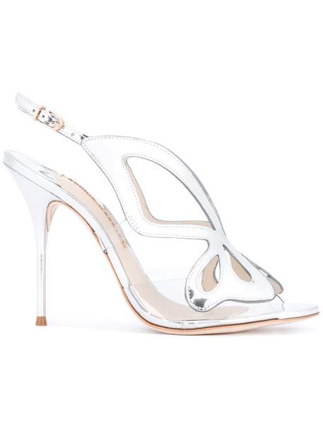 Sophia Webster women butterfly sandals leather grey metallic shoes