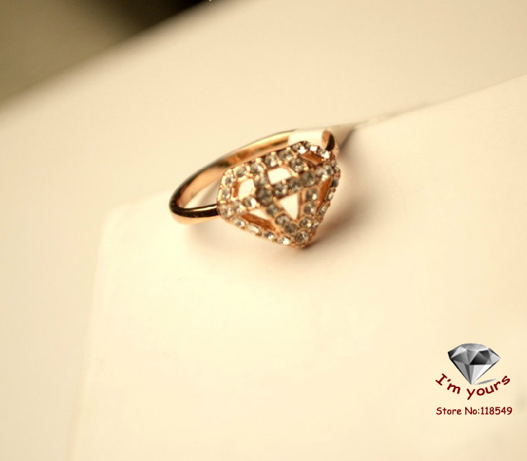 JZ1216  Free shipping Rose gold hollowed out geometry triangle superman ring-in Rings from Jewelry on Aliexpress.com