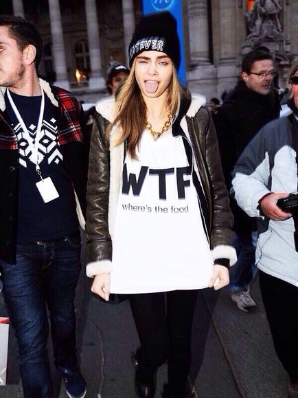 shirt cara delevingne where's the food, wtf, where the food,