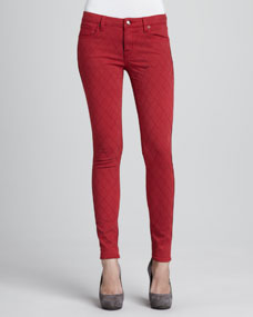 Quilted-Stitching Skinny Jeans, Red
