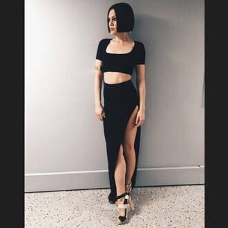 jessie j black skirt black crop top crop tops maxi skirt high heels black dress dress