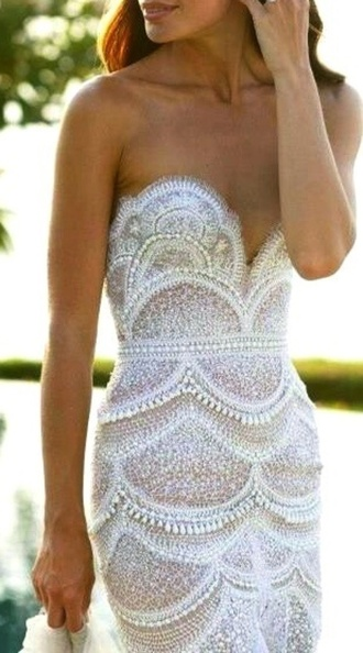 dress sequin dress scalloped dress glitter dress glitter w&b sparkly dress white dress white prom dress long prom dress lace dress sweetheart dress cute dress beaded dress need it now scalloped lace wedding dress wedding dress lace wedding dress ivory bling wedding