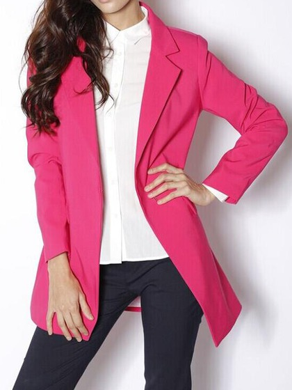 Lapel Pocket Longline Blazer in Pink - Choies.com