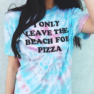 t-shirt tie dye shirt pizza shirt colorful shirt blue t-shirt purple tank top