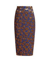 skirt,pencil skirt,jacquard,floral,blue