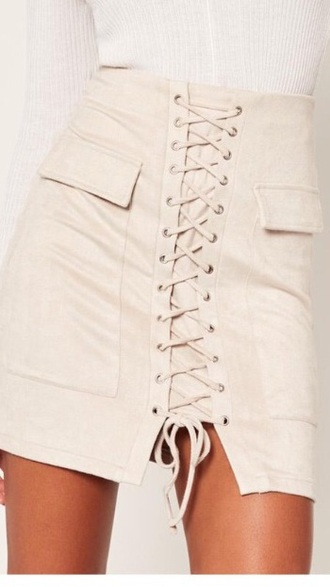 skirt beige lace up skirt