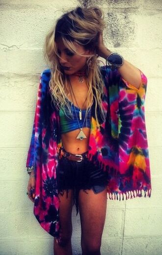 cardigan dip dyed colorful