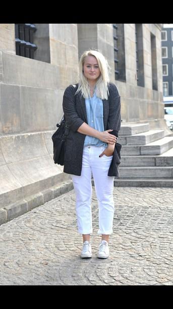 pants white pants cardigan white converse