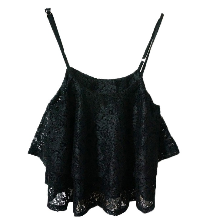 Lace Peplum Top With Frill Hem