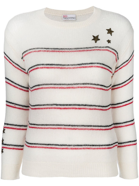 RED VALENTINO jumper embroidered women nude wool sweater