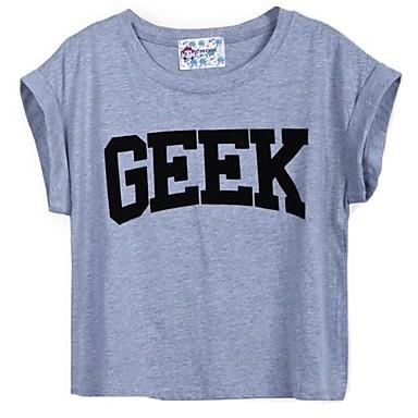 Sheinside Women's Grey Short Sleeve GEEK Print Crop T-Shirt - USD $ 11.69