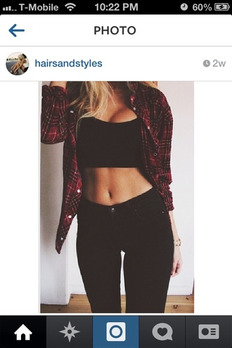 top red flannel shirt flannel shirt red and black plaid black crop top crop tops jeans tank top