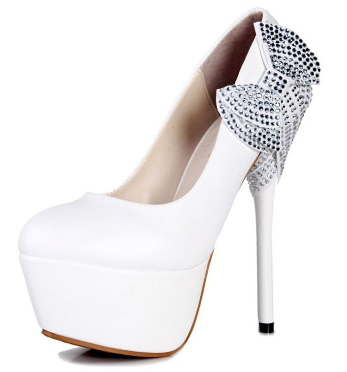 Party Maid White String Bows Princess Stiletto High Heels Wedding Women Shoes | eBay