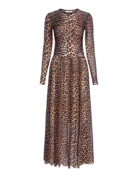 a3a3af02f5f Ganni Tilden Leopard Mesh Maxi Dress Leopard - Wheretoget