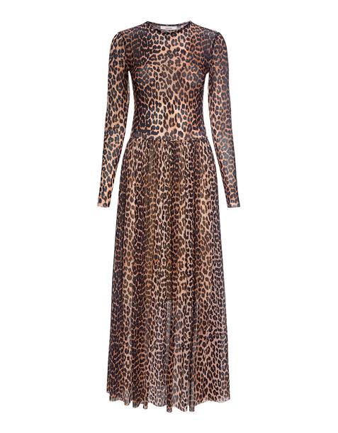 eddb47a25893 Ganni Tilden Leopard Mesh Maxi Dress Leopard - Wheretoget
