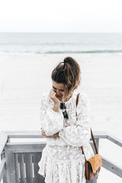 2016 | collage vintage,blogger,white dress,long sleeves,shoulder bag,brown bag,aviator sunglasses,mini dress,lace dress,romantic dress,romantic summer dress,chloe bag,beach,weekend escape,designer bag,suede bag