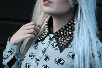 pastel hair blouse eyes eye tumblr hair dye punk pastel pastel goth studs studded blouse spiked collar